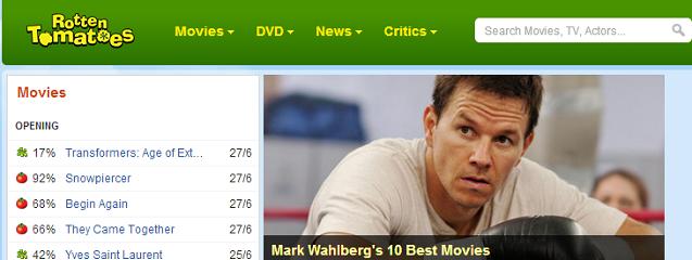 Página principal de Rotten Tomatoes